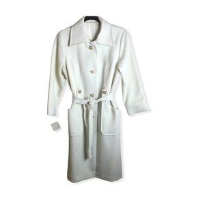 Vintage New Roberta Lee Women's Ivory White Trench Coat 60's 70's Size 10